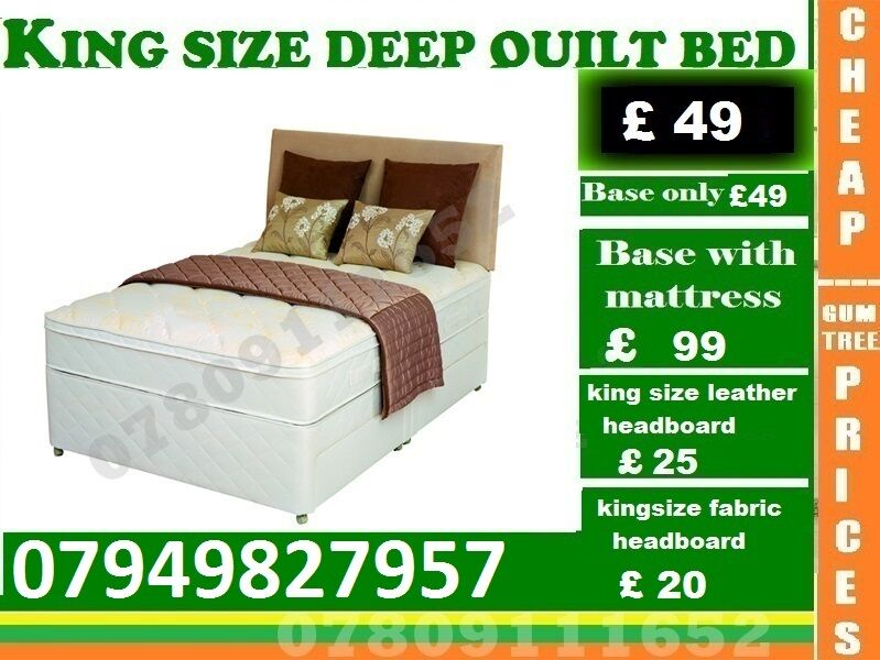 King Sizes, Double and Single Base availableBeddingin Wembley, LondonGumtree - ESPECIAL EASTER SALE.~.~.Available at Half of the Orignal Price.~.~. We Deal in all sizes of Divan ,Leather Beds.~.~.Other Furnitures sofabeds, wardrobe, sofa available also.~.~.Brand New Delivery Same day Contact Us