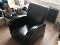 Art Deco style brown leather armchair