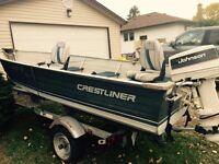 15 Foot Crestliner boat, motor and trailer