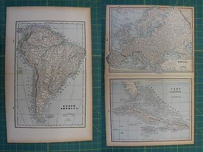 South America Cuba Europe Vintage Original 1893 Columbian World Fair Atlas Map