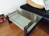Glass, wood and stainless steel coffee table and TV stand