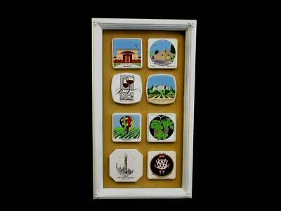 Floral White Framed Ceramic Winery Souvenir Tiles Trivets Coasters Display