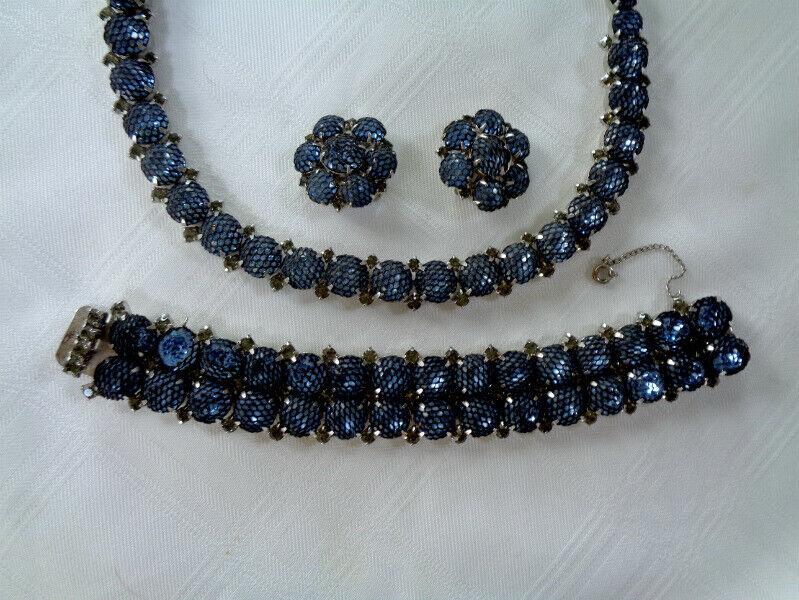 RARE Kramer of New York Blue Netted Rhinestone Necklace Bracelet Earrings Set