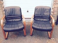 Black Italian Leather Sitlands chairs x 2