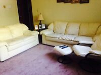 Leather couch loveseat chair &ottoman