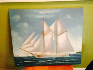 "Nice Painting on Canvas of a Schooner, 23.5"" x 19.5"""