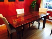 Rustic Pine dinette table and chairs.