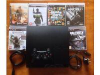SONY PLAYSTATION PS3 SLIM CONSOLE 160GB & 6 GAMES GTA 5 CALL OF DUTY BLACK OPS 2 GHOSTS MW2 MW3 AC3