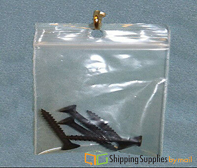 4 X 6 Plastic Clear Reclosable Hang Hole Storage Bags 4 Mil Poly 4000 Baggies