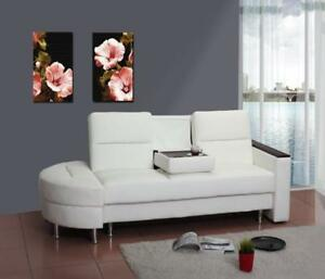 Faux Leather Sofa Bed in White (SK09)