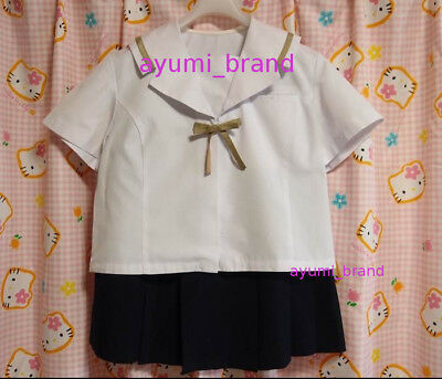 E51 ^_^ Japanese SchoolGirl Uniform Summer! Gold Strap. LL size ! Perfect Cond. for sale  Shipping to United States