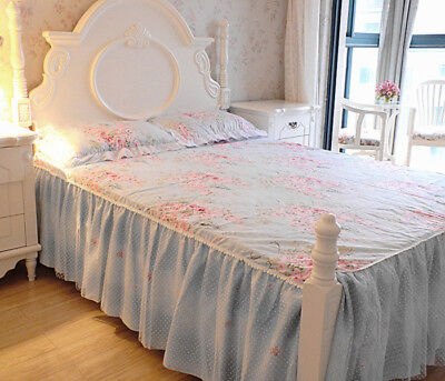 Princess Blue Floral Rose Bed Skirt + 2 Pcs pillowcases Set King Queen Full Twin