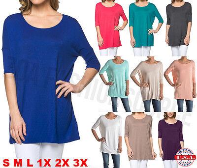 Womens Piko Style Short Sleeve Boatneck Long Tunic Top T-Shirt USA S M L XL PLUS
