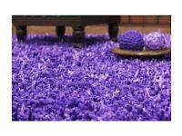 Used Purple Damro Shaggy Modern Handmade Area Rug, Very heavy. Size:4'x6' (120x180cm)