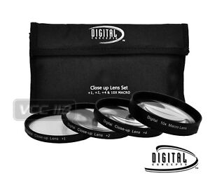 58MM Macro Close Up Lens Filter Kit +1 +2 +4 +10+Rag for Canon 18-55mm 50mm Lens