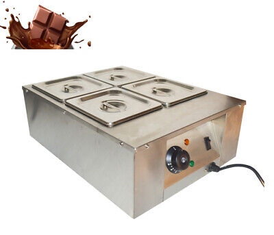Techtongda Four Pan Chocolate Tempering Melter Stainless Steel 110v