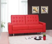 BRAND NEW FURNITURE - RED BLACK LEATHER KLICK KLACK COUCH SOFA