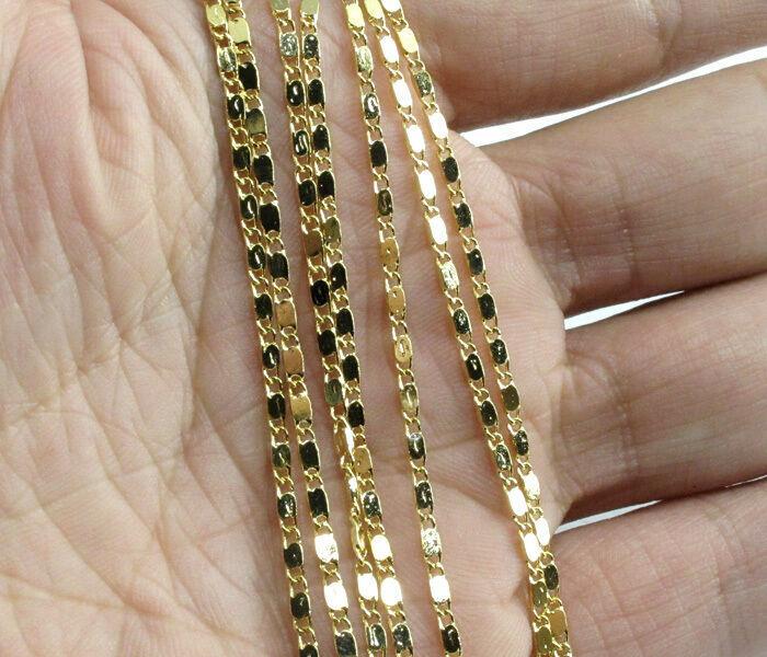 Gold Curb Flat Chain-
