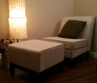 upholstered chaise with footstool (Moving sale!)