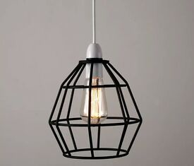 Black metal wire cage pendant ceiling lampshade light
