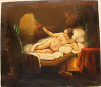 Extremely  Rare  Old Antique Oil Painting signed Rembrandt