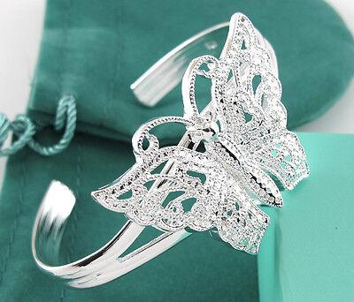 925 Silver big Butterfly Shining Crystal Lady Cuff Bangle Bracelet
