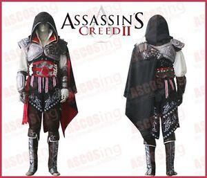 Assassins-Creed-2-II-Ezio-BLACK-Anime-Cosplay-Costume-Luxury-Version-Any-Size