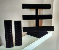 BLACK VELVET 3 TIER T-BAR & EARRING JEWELRY DISPLAYS