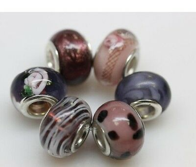 "Set of 6 ""Purple"" Murano Charm for Snake Chain Charm Bracelets Charms & Charm Bracelets"