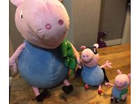 Peppa pig brother George pig soft toys 3 in total excellent condition