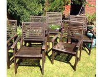 6 hardwood patio chairs £60