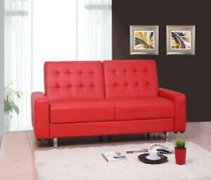 Red Faux Leather Sofa Bed (SK10)