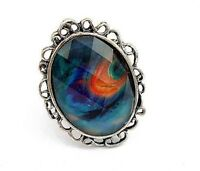 Peacock stone ring--NEW!!