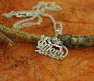Script #1 Mom Pendant-Sterling Silver- Mom to Be,Best Mom,Lovely,Cute,Gift