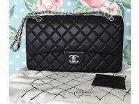 Chanel 2.55 classic flap bag 30cm black sil not Hermes Gucci Prada Lv