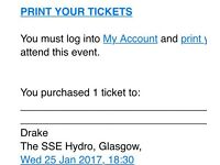 SWAP 1 DRAKE STANDING TICKET 25TH FOR 26TH SSE HYDRO
