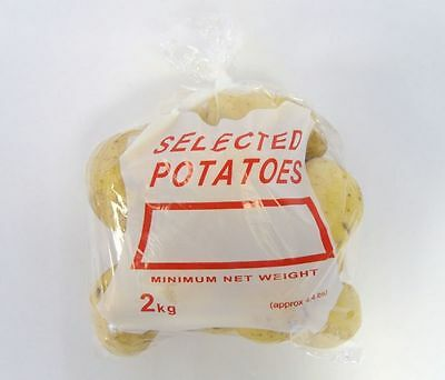 1000 x Clear 2 KG Potato Bags 10x14