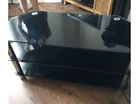 Tv stand black and chrome