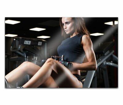 Cuadros de Cristal Acrílico 80cm Bodybuiling Mujer Sexy Pintura Pared 14H1327