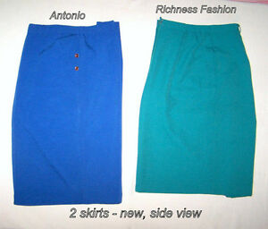 2 Skirts: XL, Antonio,bkue + 15, Richness Fashion,green $25 pair