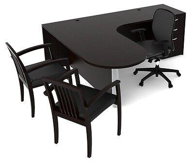 New Amber Bullet Front L-shape Computer Corner Executive Office Desk