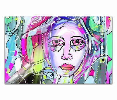 Cuadros de Cristal Acrílico 80cm Cara Mujer Retrato Pintura Pared Imagen 14H1490
