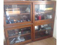 Mahogany shop display bookshelf Vintage with 4 sliding doors