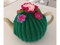 FLOWER TEA COSY hand knitted. Wool pot cover made CHRISTMAS STOCKING FILLER green