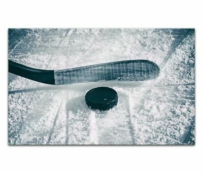 Cuadros de Cristal Acrílico 80cm Hockey sobre Hielo Disco Pintura Pared 14H1376
