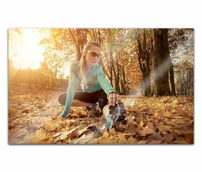 Cuadros de Cristal Acrílico 80cm Ejercicio Mujer En Bosque Pintura Pared Imagen