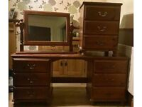 Solid pine dressing table, mirror and chest of drawers
