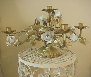 Gold Tole Italian Florentine Candelabra White Roses Includes Tag