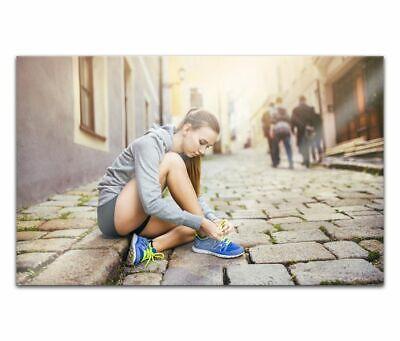 Cuadros de Cristal Acrílico 80cm Jogging Correr Mujer Pintura Pared 14H1418