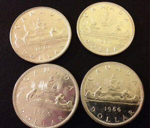 MS+ 1960's Canadian Silver Dollars